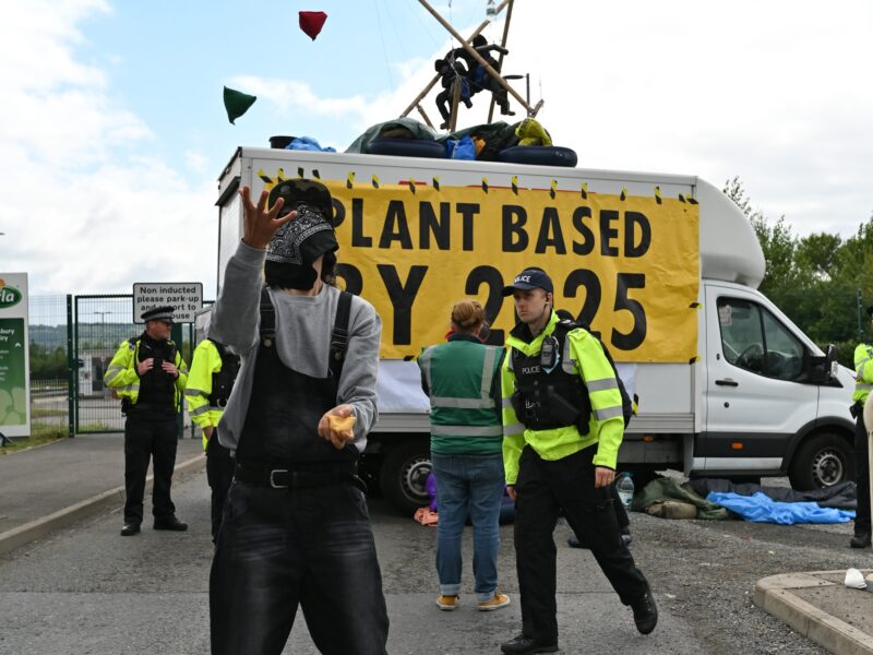 CLIMATE ACTIVISTS BLOCKADE UK'S BIGGEST MILK FACTORY CALLING FOR AN END TO DAIRY